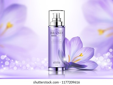 Cosmetic spray ads, purple bottle with flower isolated on bokeh glittering background, vector illustration
