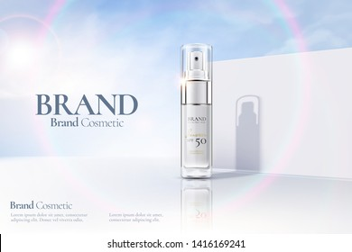 Cosmetic spray bottle ads on white clear wall background with sunbeam in 3d illustration
