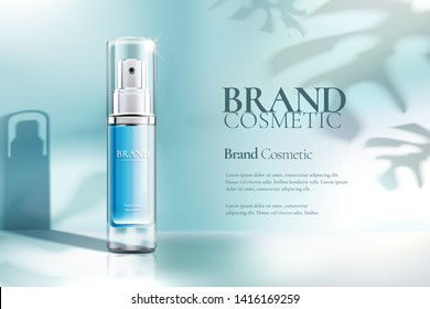 Cosmetic spray bottle ads on clear blue background with foliage shadow in 3d illustration
