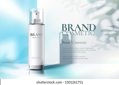Cosmetic spray bottle ads on light blue and white background in 3d illustration