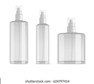 cosmetic spray bottles set isolated on white background. Small, big and wide bottles. Realistic vector design.