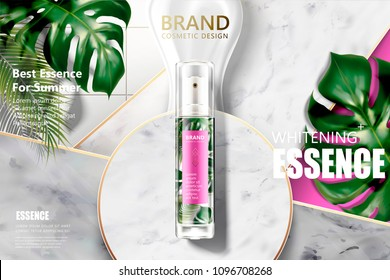 Cosmetic spray product with tropical leaves on marble stone background in 3d illustration, top view