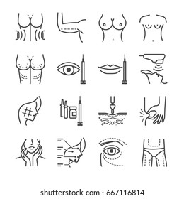 Cosmetic surgery line icon set. Included the icons as wrinkle, aging, belly, cellulite and more.