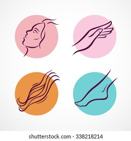 Cosmetic therapy icons set. Different parts of a body - face, hand, hair, foot. Vector illustration.