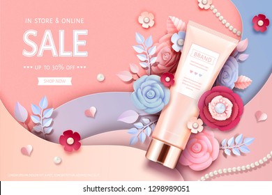 Cosmetic tube ads with beautiful paper flowers in peach pink