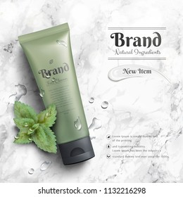 Cosmetic tube ads with murky green package and mints element on marble stone table in 3d illustration