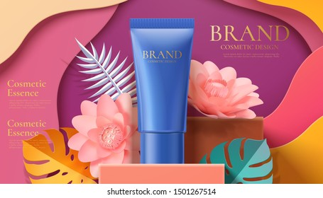Cosmetic tube ads on square podium paper art tropical leaves and flowers in 3d illustration