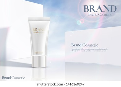 Cosmetic tube ads on white clear wall background with sunbeam in 3d illustration