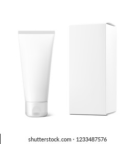 Cosmetic tube with box set. Can be used for cosmetic, medical, gels, creams, shampoo and pastes. Vector illustration isolated on white background. Taking your 2D designs into 3D. EPS10.