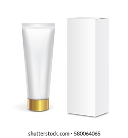 Cosmetic tube container with gold lid and white box isolated on white background. Mock up packaging