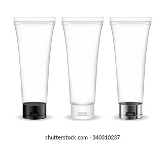 Cosmetic tube for cream, gel, liquid, foam. Beauty product package (transparent). Vector illustration.