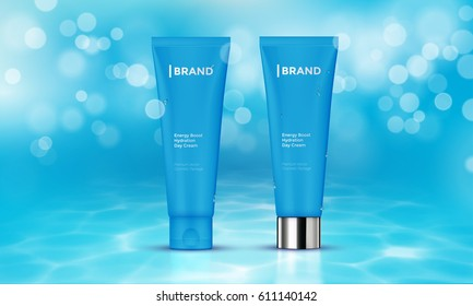 Cosmetic tube with moisturizing cream on vector underwater blue background