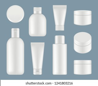 Cosmetic tubes. Makeup plastic packages and round containers white vector mockup
