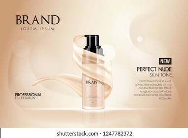 Cosmetic vector foundation premium product advertisment, ads for promotion. Make-up in bottle with its texture flowing on a soft beige background.