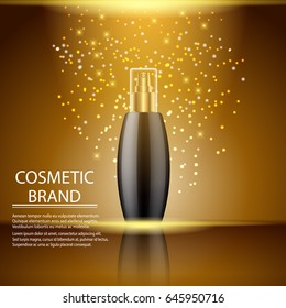 Cosmetics ads template poster of premium perfume spray bottle. Vector 3d illustration for design  placard, presentation, banners and cover.