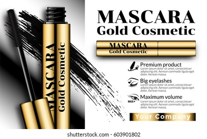 Cosmetics Advertising Banner Billboard Poster Catalog. Luxury mascara ads gold package with eyelash applicator brush mascaras VIP background. Package Design Promotion Product. 3D Vector Illustration.