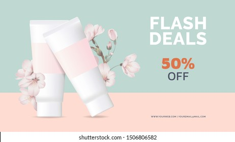 Cosmetics banner mockup template design, cream tubes decorated with sakura flowers on blue and pink