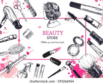 Cosmetics and beauty background with make up artist and hairdressing objects: lipstick, cream, brush. With place for your text .Template Vector.