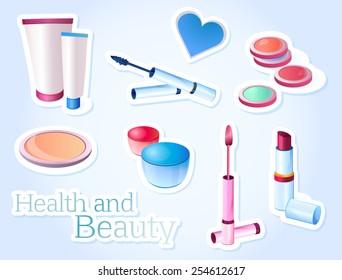 Cosmetics, beauty, health, makeup, sticker