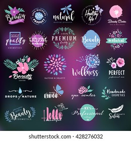 Cosmetics and beauty labels and badges collection
