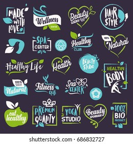 Cosmetics and beauty labels and elements set. Vector illustrations for natural cosmetics, healthcare, organic products, spa, wellness, beauty and healthy life, body and skin care and makeup.
