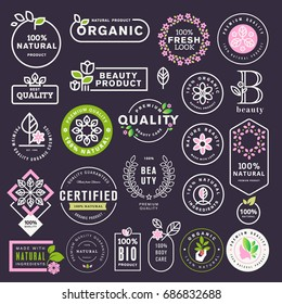 Cosmetics and beauty labels and stickers set. Vector illustrations for natural cosmetics, healthcare, organic products, spa, wellness, beauty and healthy life, body and skin care and makeup.