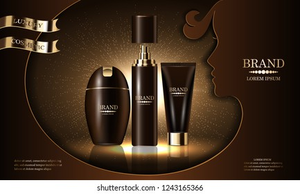 Cosmetics beauty product series, premium body spray cream shampoo for skin care, template for design poster, cosmetic presentation, banners mockup, backgrounds, vector illustration.