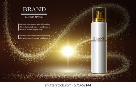 Cosmetics beauty series, ads of premium body spray cream  for skin care. Template for design poster, placard, presentation, banners, cover, vector illustration