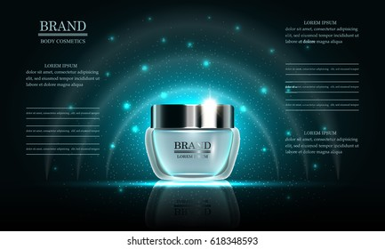 Cosmetics beauty series, premium body cream for skin care on blue background, template for design poster, placard, presentation, banners, cover, vector illustration