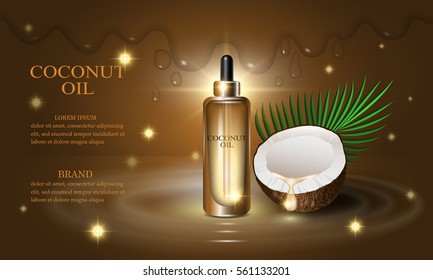 Cosmetics beauty series, premium coconut oil cream for skin care. Template for design poster, placard, presentation, banners, covers, vector illustration.