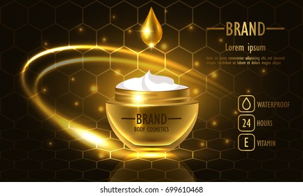 Cosmetics beauty series, premium Honey Cream packaging for skin care. Template for design poster, placard, presentation, banners, cover, vector illustration
