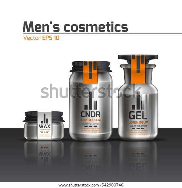 Cosmetics for body care products for men. Package design. Vector illustration