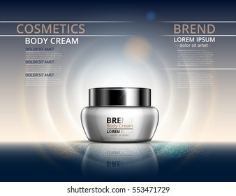 Cosmetics for body cream. Jar for design on a light background. Vector illustration