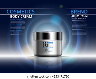 Cosmetics for body cream. Jar for design on blue background. Vector illustration