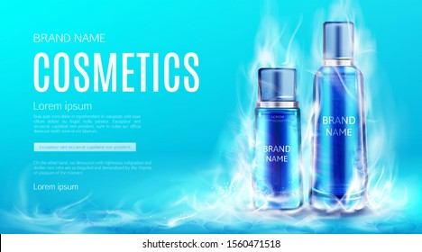 Cosmetics bottles in dry ice smoke cloud mockup background. Cooling beauty cosmetic product tubes, makeup remover, cream or tonic advertising promo poster. Realistic 3d vector illustration, banner.