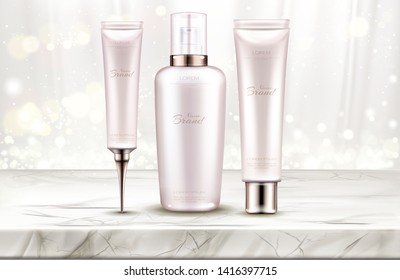 Cosmetics bottles mockup, skin care beauty product line on marble table top with white silk curtains background. Cream, serum, spray cosmetic tubes packaging design. Realistic 3d vector illustration