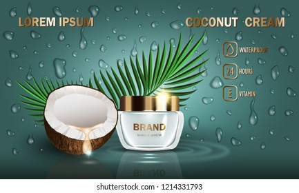 Cosmetics coconut beauty series, premium cream for skin care and set of drops. Template for design poster, placard, presentation, banners, mockup, ads, vector illustration.
