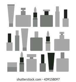 Cosmetics collection. Simple and minimalistic. Woman cosmetics set. Vector illustration.