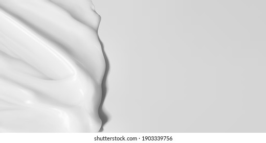Cosmetics cream product texture vector realistic illustration. Skincare horizontal banner. Softness delicate moisturizer smooth smear with copy space