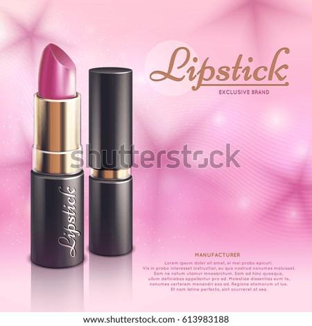 cosmetics design advertising template lipstick 3 d のベクター画像