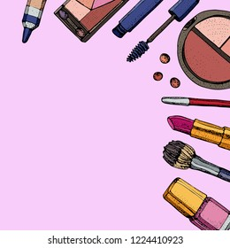 Cosmetics and fashion background with make up artist objects: lipstick, eye shadows, mascara ,eyeliner, concealer, nail polish. Isolated vector illustrations on a pink background