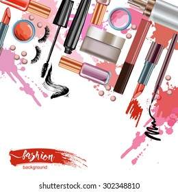 Cosmetics  and fashion background  with    make up artist objects: lipstick, eye shadows, mascara ,eyeliner,  nail polish. Vector illustration.
