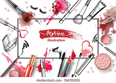 Cosmetics and fashion background with make up artist objects: lipstick, cream, brush.  With place for your text .Template Vector.