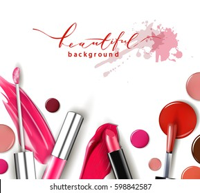 Cosmetics and fashion background with make up artist objects: lipstick, ip gloss, nail Polish. With place for your text .Template Vector.