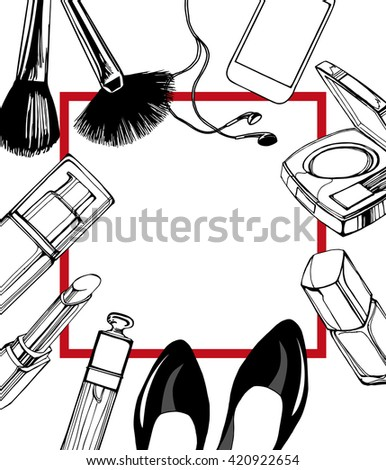 Cosmetics Fashion Background Make Artist Objects Stock Vector