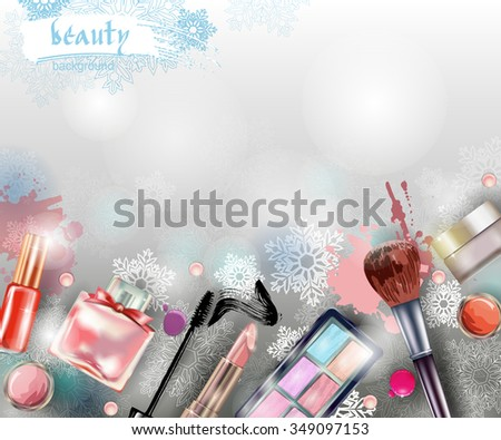 cosmetics and fashion christmas and new year background with make up artist objects lipstick