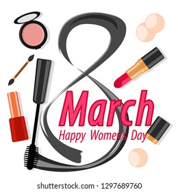 Cosmetics and figure 8 is written in ink on a white. Women s day