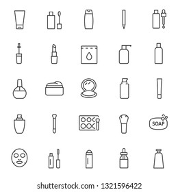 Cosmetics, icon set. Cosmetic products, linear icons. Lipstick, perfume, mascara, eye shadow, foundation, shampoo, skin cleanser, body lotion, etc. Line with editable stroke