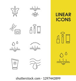 Cosmetics icons set with summer sunblock, oil skin and cosmetic makeup elements. Set of cosmetics icons and beauty concept. Editable vector elements for logo app UI design.