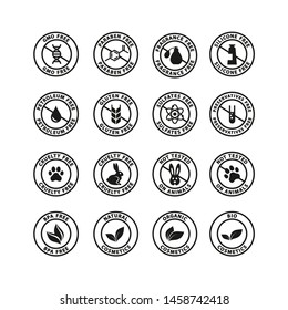 Cosmetics ingredients free circle vector badge label. Cosmetics packaging stamp set, fragrance free, silicone free, bio, organic cosmetics.